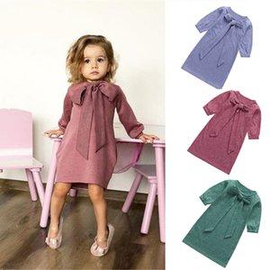 chifuna nouveau noeud manches longues trois couleurs princesse pour filles retour à l'école robe solide automne automne w1227