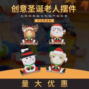 Penhasco de Natal Papai Noel LED luz de boneco de neve ornamento de madeira luminosa handicraft casa