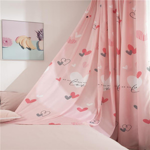 Pink Curtains for Girls Bedroom Heart Print Lovely 1 Piece Polyester Kids Drapes Living Room Window Kitchen Decorative Curtain