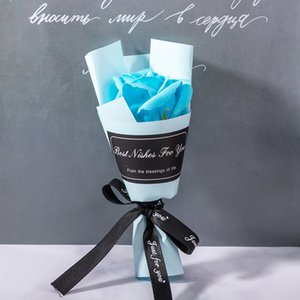 Artificial Hand Flower Mothers Day Valentines Gift Single Roses Wrapping Paper Soap Bouquet Wedding Home Decor 1 33yl G2