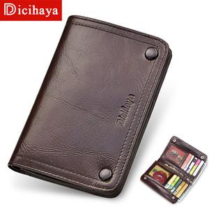 Dicihaya neues 100% echtes Short Vintage-Kuh-Leder-beiläufige Mann-Mappen-Standard-Halter-Mappen