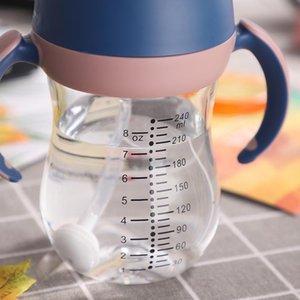 240ml Baby Drinkware Little Animal Infant Learn to Drink Cup Children Bottle Straw Cups Anti-Choke Kettle for Newborns#aksjnc