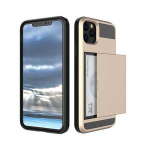 Cas de portefeuille pour iPhone 12 11 PRO XR Pro Max TPU + PC Slide Cartes Armor Shell Coque pour Samsung Galaxy Téléphone