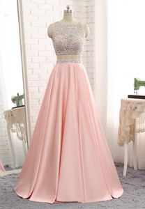 Luxury See-through Sheer Scoop Neck Bodice Silver Beadings 2 Parts Detachable Show Belly Waist Blush Pink Prom Party Gowns Evening Gown
