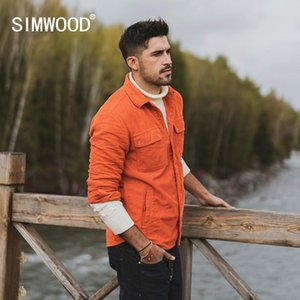 SIMWOOD spring new corduroy jacket men trucker Jacket fashion 100% cotton coats plus size outerwear brand clothing SI980670 201023