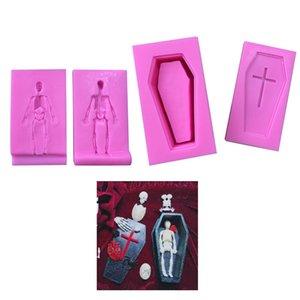 3d ataúd Esqueleto de silicona del molde Jabón hecho en casa herramientas de bricolaje molde de la torta de chocolate de Halloween Juego de herramientas de cocina 08