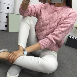 Winter O neck Womens Sweater Jersey Woman Mohair Knitted Twisted Thick Warm Ladys Pullover 2020 College Jumper Women Pink Gray