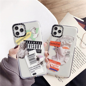 Na venda quente Luxury Art Letter Letter Phone Case para iPhone 12 11 Pro Max 7 8 Plus Back Cover para iphone x XR XS Max Caixa Macio Transparente