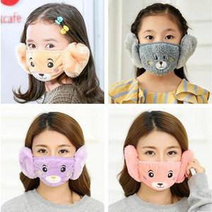 2 1 Çocuk Karikatür Bear Face Maske Kapak Peluş Kulak Koruyucu Kalın Sıcak Çocuklar Ağız Maskeleri Kış Ağız-Kül Kış kulaklığı İçin Çocuk Ve Yetişkin