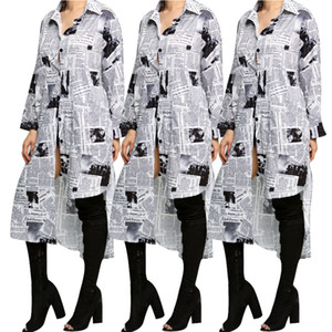 Women Fashion Casual Dresses Spring Newspaper Printed Shirt Dress Party Office Lady Long Sleeved Turn Down Irrgular Style Casual Dresses