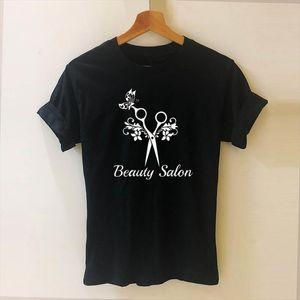 Barber Weapons T Shirt Women Short Sleeve O Neck Cotton Heartbeat of Hairdresser T shirt Girls Woman Scissors Clothing Tops