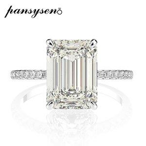 PANSYSEN Real 925 Sterling Silver Emerald Cut Создано Муассанит Алмазные Обручальные кольца для женщин Luxury Proposal обручального кольца 201116