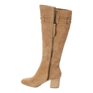 Горячие продажи - женская обувь для взрослых сапоги дамы колена высокие квадратные каблуки сплошные круглая носятая молния досуг зрелый сладкий шнурок Basic 2019
