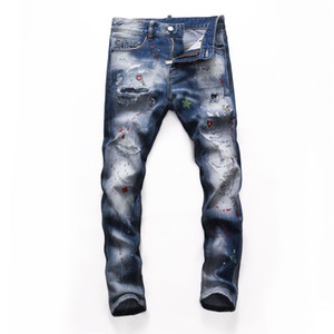 Top Mens strappato Grigio Grigio Jeans Fashion Designer Slim Fit Fit Waving Motocycle Denim Pantaloni Pannelli Hip Hop Pantaloni Biker NJ8254