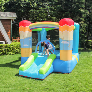 Home use Kids Inflatable Rainbow House Trampoline Bouncy Castle Bounce House Inflatable Kids Jumper Jump with Blower Rainbow Jumping Castle