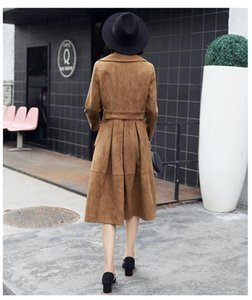 Winter Trench Coat Womens Classical Double Breasted Windbreaker Long Sleeve Suede Female Overcoat Hot Sale LX1930
