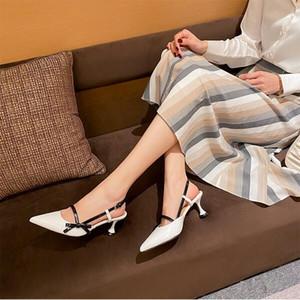 Yeni Kadın Sandalet Moda Parti Düğün Alışveriş Siyah Beyaz Sivri Papyon Slaytlar Açık Ayakkabı Boyutu 35-40 Ücretsiz Kargo