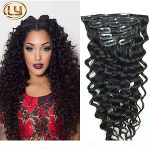 Clip in Human Hair Extensions Deep Curly Brazilian Human Hair Extensions Clips Ins 7pcs set 10pcs Set for Whole Head Clip in hair