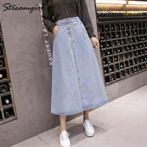 StreamGirl Denim Plus Tamaño Moda coreana Jeans Falda Botón Big Hem Casual High Cintura Faldas largas para las mujeres Y200326