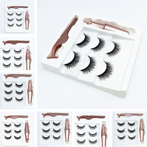 9 COLORS 3 Pairs Magnetic Eyelashes False Lashes +Liquid Eyeliner +Tweezer Eye makeup set 3D Magnet False Eyelashes Natural Reusable F101907