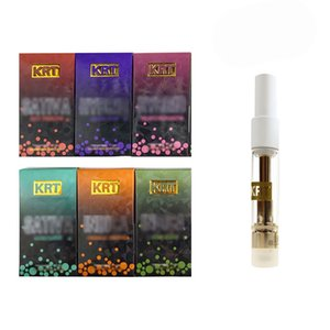 POPULAR Hot KRT Cartridge 0.8ml 1.0ml KRT Vape Carts Glass Ceramic Gold White Top With Packaging Box 510 Threading Empty
