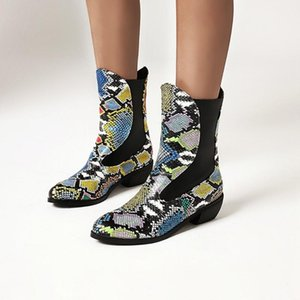 US4-13 Womens Pointy Toe Snake Pattern Stitching PU Leather Ankle Boots Chunky Heel Shoes Mixed Colors Plus Size