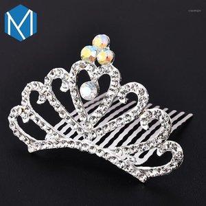 M Mism Elegant Girls Brides Headress Headwear Shining Crown Hairpins Аксессуары для волос для женских украшений Заколки для волос Gairgrips1