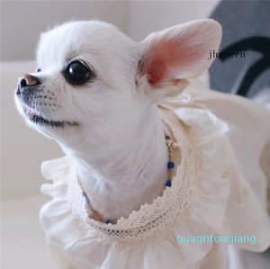Luxurious Flurried Pet Princess Dress Summer New Style Cotton and Linen Soft Dog Dress Simple Pure Color Dog Skirt