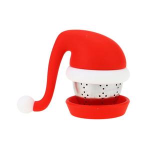 Christmas Hat Silikon Tee-Wiederverwendbare Sicher ungeheftetes Sieb Edelstahl-Silikon-Deckel Tekugeln Weihnachtsgeschenk HHA1630