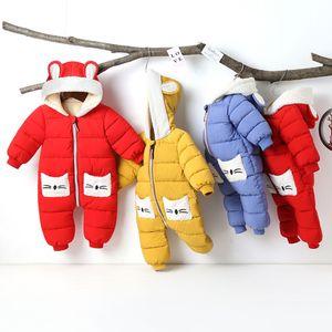 Newborn Infant Baby Boys Girls Long Sleeve Cartoon Thick Hooded Romper Jumpsuit baby keep warm coat Y1113