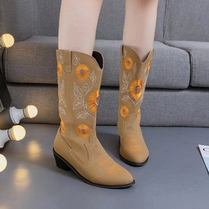Shoes 2020 Winter Women Boots Round Head Overshoes Fashion Boots Women Embroidered Leather Big Size 35-43 #Na0a