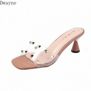 Flat Sandals Women Summer Wear 2020 Fashion Thick Heel Transparent Crystal Shoes Rivets Open Toe High Heels Green Shoes Ankle Boots Fo aH4O#