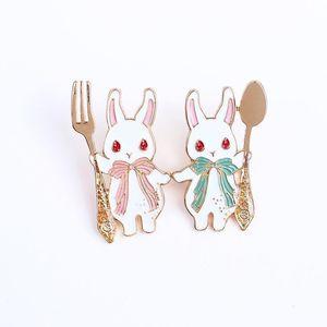 2021 Fashion Cute Korean fork spoon girl heart pink rabbit brooch badge coat hat sweater bag decoration