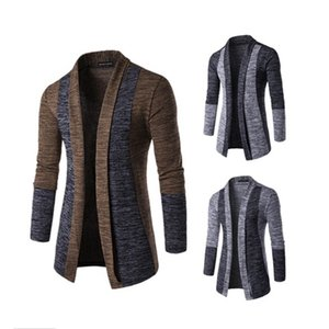 Shawl Collar Cardigan Men Pull Homme Fashion Autumn Slim Fit Long Mens Cardigans Casual Hit Color Knitted Cardigan Sweater 201022