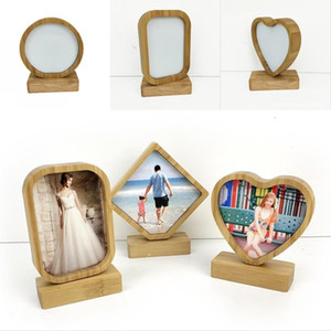 Bamboos Sublimation Blank Photo Frame With Base DIY Double Sided Wood Love Heart Round Frames Magnetism Picture Painting Decoration 13bd G2