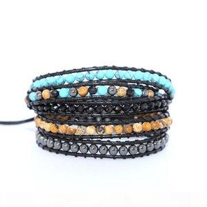 Fashion 5 Strands Leather Bracelets Natural Stone Beads Handmade Boho Wrap Bracelets Men Women Bracelet
