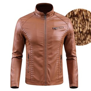2020 New Thickened PU Leather Jacket Men Fashion Motorcycle Outerwear Fur Jackets Male Zipper Winter Warm Brand Clothing
