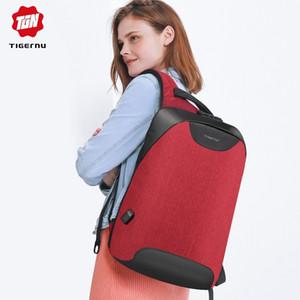Saco de escola carga Tigernu Mulheres Anti Theft TSA bloqueio Laptop Backpack feminino USB para adolescente meninas Feminine Mochilas Bagpack Y200103
