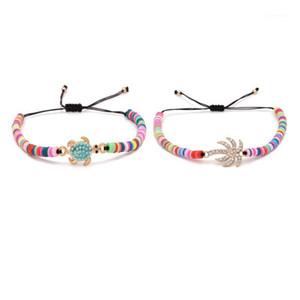 Rainbow Polymer Clay Disc Beads Palm Tree Sea Turtle Heishi Summer Bracelet Evil Eye Bird Dragonfly Helm Cactus Charm Jewelry1