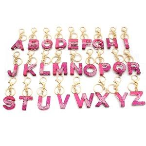 Brief Schlüsselanhänger 26 englisches Wort Glitter Resin Handtasche Anhänger für Frau a bis z Keyrings Auto-Schlüsselring netten Party-Geschenke GWD2182