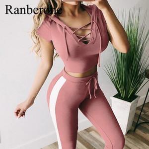 2020 NEW V-образный вырез Йог наборы Женщина Gym Одежда женская Полосатая Активный спорт S-2XL Размер Фитнес тренировка бинты 2 Piece Set костюмы