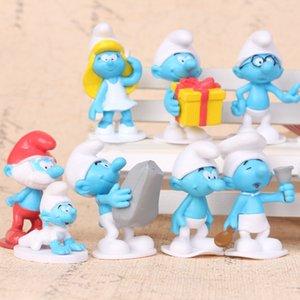 12шт / набор мини аниме мультфильма Smurfs ПВХ Фигурки Куклы LES SCHTROUMPFS Детские игрушки Подарки