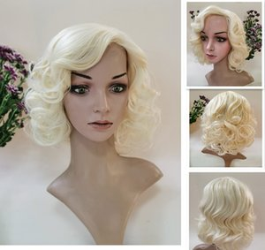 2021 New White Shorts And Black Hair Virgin Pure Lifelike Manyal Wig Thermal Synthesis Blond Blond Curly Hair Female Natural Headgear