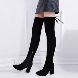 Hiver épaisse sur les talons de femmes Pointu Toe Knee Haut Bottes en daim Chaussures Femmes