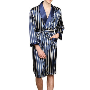 Mens Silk Satin Pajamas Sets Robe Striped Long Sleeves Bathrobe Silk Kimono Spring Fashion Sleepwear Night Dressing Gown 201023