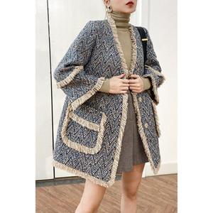 20201012 Autunno 2020 nuovo mezzo delle donne di cappotto di lana lungo cappotto di lana