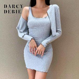 Одежда Darcydebie Женская осень Новая волна края с длинным рукавом пальто Два Hip Кусок Sexy Wrap Dress Set