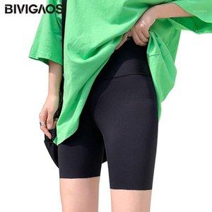 BIVIGAOS Summer Black Elastic Sharkskin Shorts Women Fitness Ice Silk Knee Short Biker Shorts Bodybuilding Sexy1