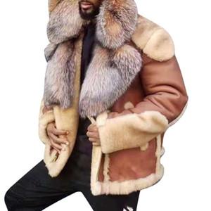 2021 мужская зимняя куртка мужская кожаная куртка большой меховой воротник пальто мужчины теплые добавить шерсть парки пиджака чаатес Hombre
