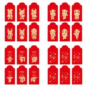 Paquetes de Lucky Invoz China Sobre rojo Paquete rojo para 2021 Año del Festival de Primavera Ox Festival Body Body Box Bag Sea GWC5358